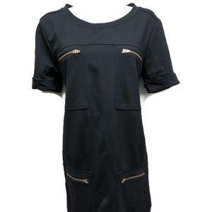 J. CREW Ponte Shift Dress Pockets 4 Black